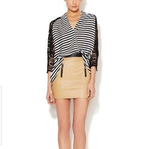 Stella and Jamie leather skirt with zipper detail